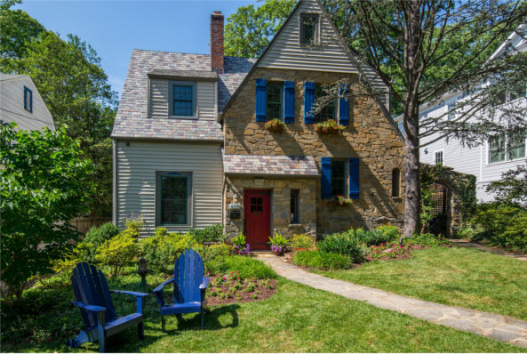 4119 Leland St., Chevy Case, MD 20910, front elevation with blue chairs