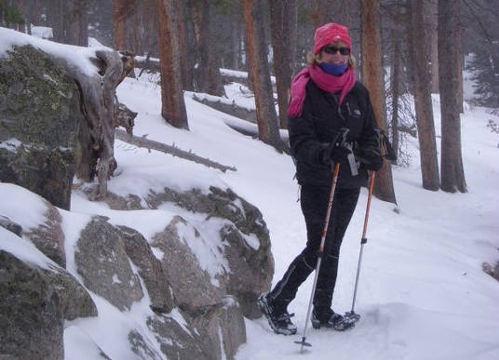 Alice on snowy trail
