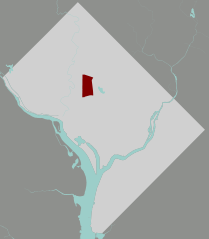 Map showing location of Columbia Heights neighborhood in Washington, DC