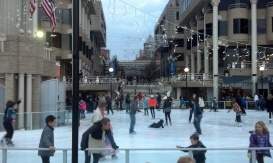 Ice skaters at Georgetown waterfront