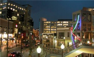 Downtown Silver Spring, MD at night.