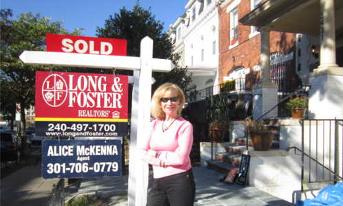 Alice with sold sign