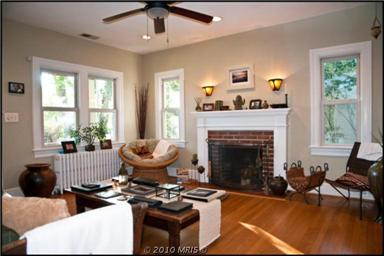 Silver Spring, MD bungalow: living room, facing fireplace.