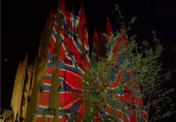 National Cathedral with red and blue lights