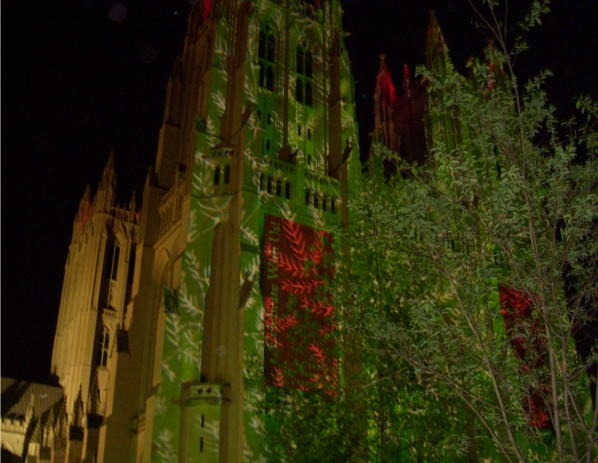 National Cathedral, Washington, DC: green and red ilghts